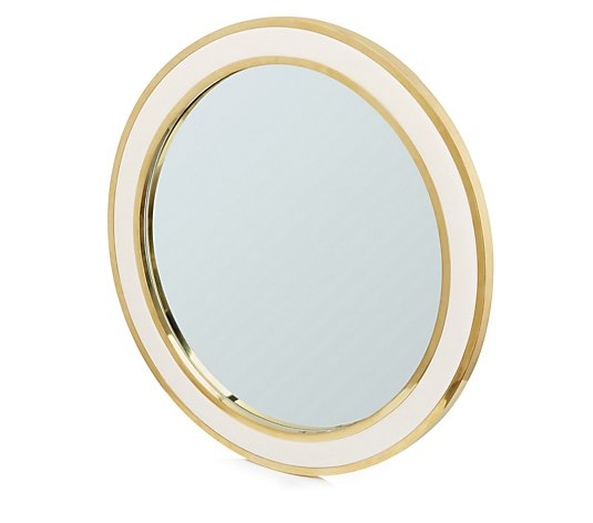 Alison Cork Velvet and Gold Circular Wall Mirror