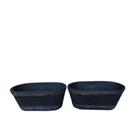 Plants2Gardens Set of 2 Half Barrel Whiskey Troughs