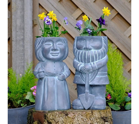 Jennings Mr & Mrs Gnome Planter Set