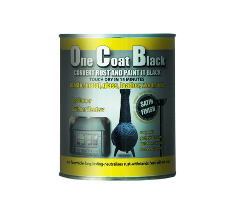 One Coat Black 1 Litre Multi Purpose Satin Paint