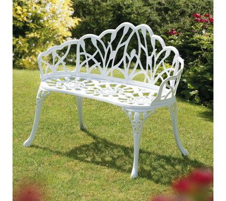Fantastic Sun Time 95Cm Perth White Metal Garden Bench Qvc Uk Theyellowbook Wood Chair Design Ideas Theyellowbookinfo