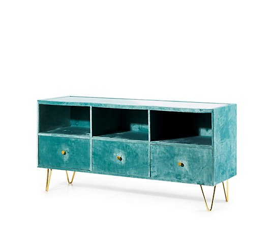 BundleBerry by Amanda Holden 3 Drawer Storage Sideboard with Tempered Glass Top