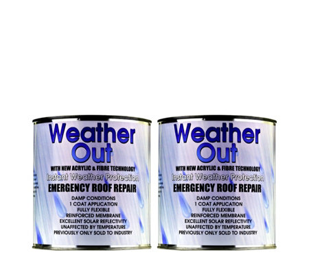 Weather Out Set of 2 Emergency Roof Repair 1kg Tins