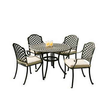 Sun Time Buckingham 90cm Table with 4 Chairs Garden Set - 512799
