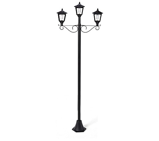 Luxform Flame Effect Three Headed Solar 1.8m Lamp Post