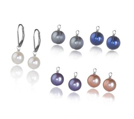 Honora 8 9mm Pearl Interchangeable Drop Earrings Sterling Silver