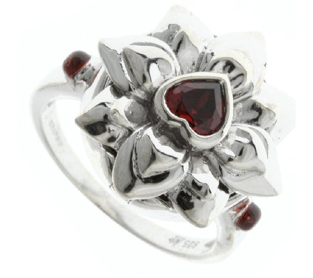Amulet Treasures Lotus Flower Garnet Heart Ring Sterling Silve Qvc Uk