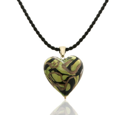 Murano 9ct Gold Large Heart Pendant Amp 50cm Cord Qvc Uk