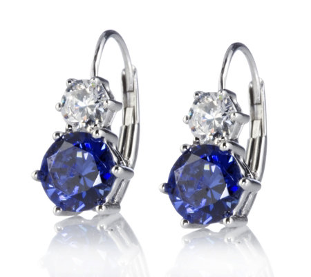 Diamonique Simulated Tanzanite Drop Earrings Sterling Silver