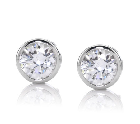cde605127 Diamonique 1.6ct tw Bezel Set Stud Earrings Sterling Silver - QVC UK