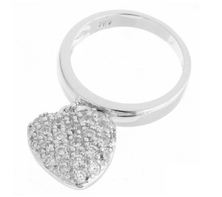 Diamonique 0.69ct tw Pave Heart Charm Ring Sterling Silver - QVC UK 6c561c4c81