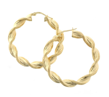 9ct Gold Large Candy Twist Hoop Earrings