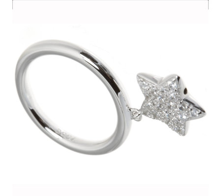 Diamonique 0.38ct tw Pave Star Charm Ring Sterling Silver - QVC UK be503459c2