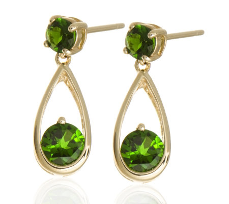 1 2ct Russian Diopside Earrings 9ct Gold