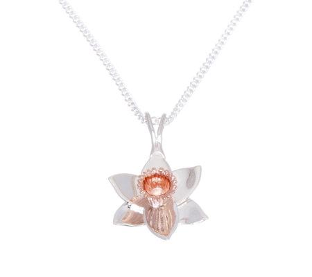82a2ff3f5 Clogau Sterling Silver & 9ct Rose Gold Daffodil Pendant & 45cm Chain ...