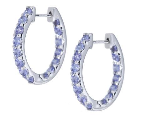 1 6ct Tanzanite Snuggie Hoop Earrings 9ct White Gold