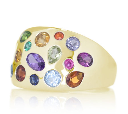 1 7ct Rainbow Gemstone Scatter Design Band Ring 9ct Gold - QVC UK