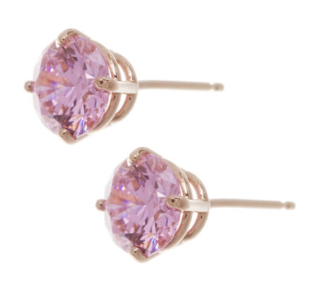 Diamonique 2ct Tw Round Cut Pink Stud Earrings 14ct Rose Gold Qvc Uk