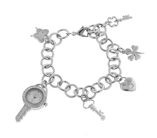 Marcel Drucker Crystal Pave Key & Multi Charm Bracelet