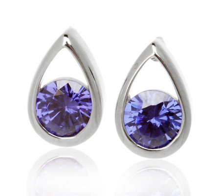 Diamonique 1 8ct Tw Simulated Tanzanite Stud Earrings Sterling