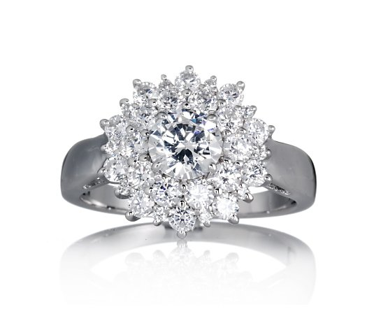 Epiphany Platinum Clad Diamonique SS Round Cut Cluster Ring