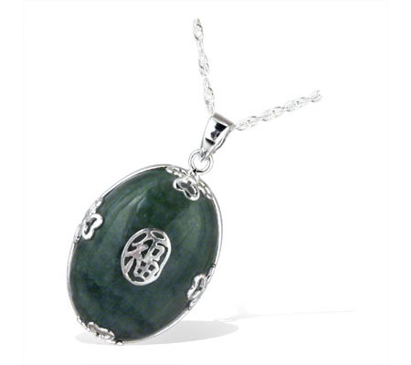 Dyed Green Jade Chinese Symbol Pendant Sterling Silver Qvc Uk