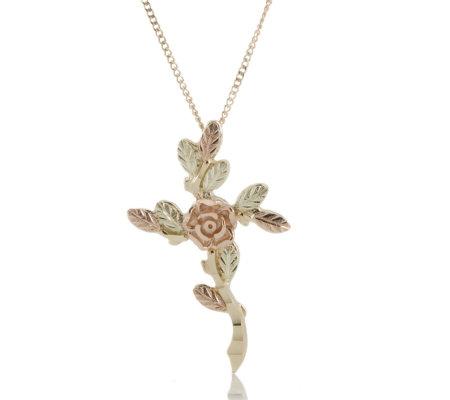 Black hills 9ct gold dakota rose cross pendant 45cm necklace qvc uk black hills 9ct gold dakota rose cross pendant 45cm necklace aloadofball Image collections