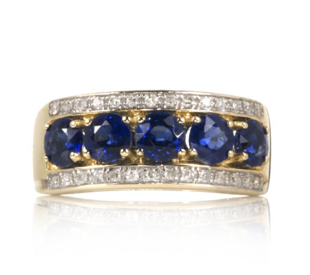 1 4ct Nepalese Kyanite & 0 1ct Diamond Band Ring 9ct Gold QVC UK