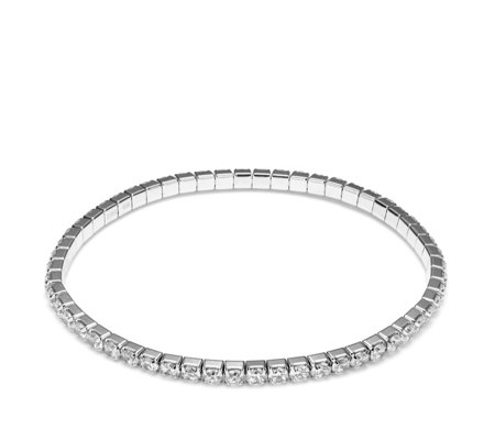 Diamonique 5 6ct Tw Stretch Tennis Bracelet Sterling Silver