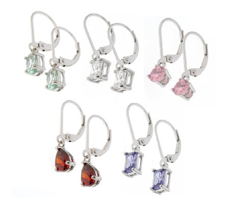 Diamonique Set Of 5 Leverback Earrings Sterling Silver