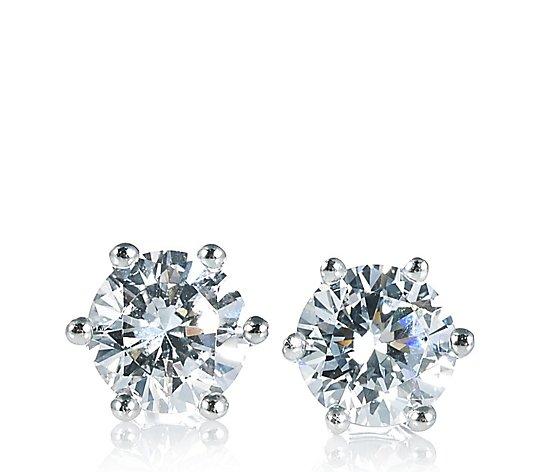 Diamonique 2ct Tw Stud Earrings Sterling Silver Qvc Uk