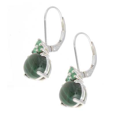 Green Malachite Emerald Drop Earrings Sterling Silver