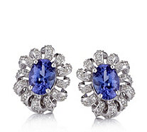1.4ct AAAA Tanzanite & Diamond Stud Earrings 18ct White Gold - 646646
