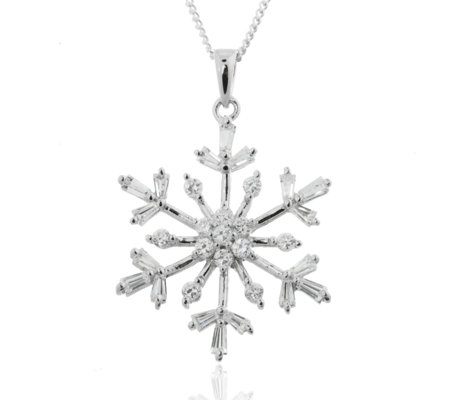 Diamonique 1.3ct tw Snowflake Pendant & 45cm Chain Sterling Silver