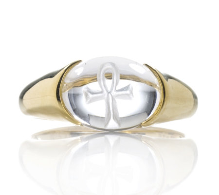 Uri Geller 9ct Gold Ankh Cross Crystal Tapered Ring