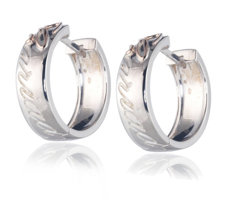 Clogau Gold Silver 9ct Rose Cariad Hoop Earrings