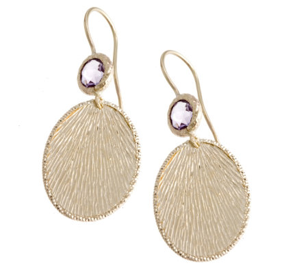 9ct Gold Amethyst Textured Disc Drop Earrings