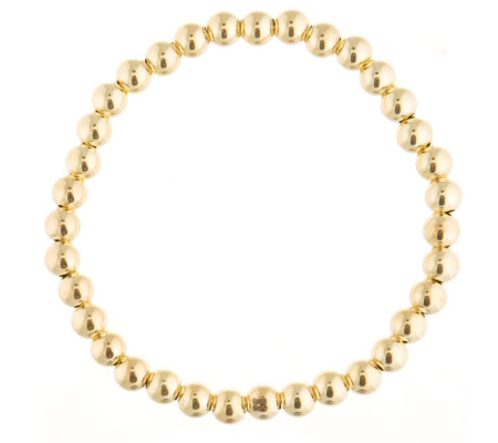 9ct Gold Highly Polished Beaded Stretch Bracelet