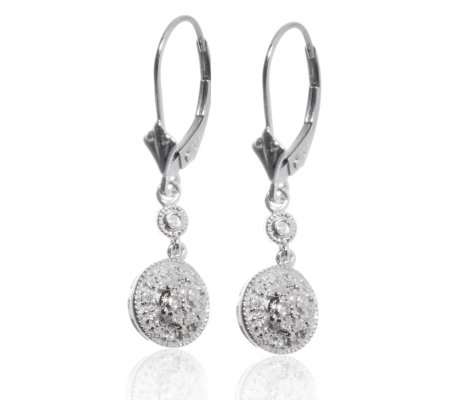 0 20ct Diamond Antique Style Drop Earrings 9ct White Gold