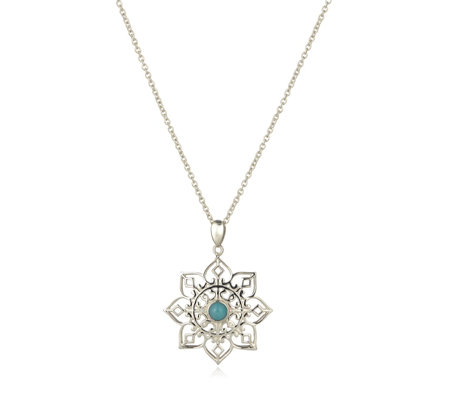 Sleeping Beauty Turquoise Floral Pendant & 45cm Chain Sterling Silver