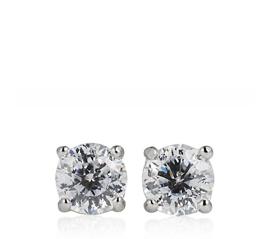 Diamonique 1ct tw 100 Facet Stud Earrings Sterling Silver