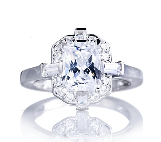 Diamonique By Tova 3 6ct Tw Art Deco Style Dress Ring Sterling Qvc Uk