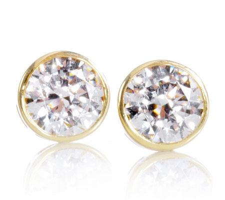 b5abc4621 Diamonique Veronese 2.2ct tw Bezel Set Stud Earrings Sterling Silver ...
