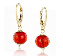 Murano Glass Lever Back Drop Earrings Sterling Silver - 608778