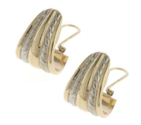 9ct Gold 2 Tone Graduated Bold Hoop Earrings