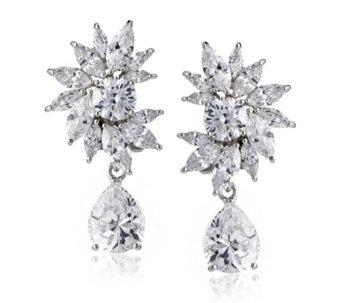 Diamonique By Tova 17ct Tw Oscar Drop Earrings Sterling Silver 641189