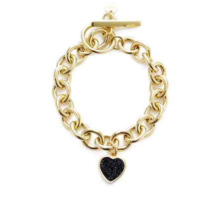 K by Kelly Hoppen Drusy Heart 20cm Bracelet Gold Plated Bronze