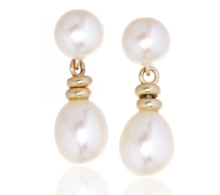 Honora 6 5 8 5mm Cfw White Pearl Double Drop Earrings 14ct Gold