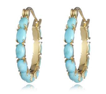 American Turquoise Cabochon Hoop Earrings Sterling Silver 698193