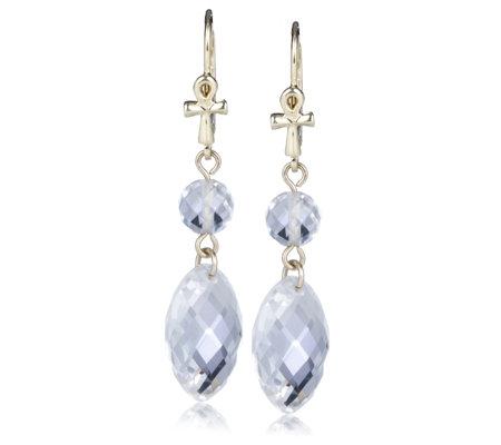 Uri Geller 9ct Gold Ankh Drop Earrings